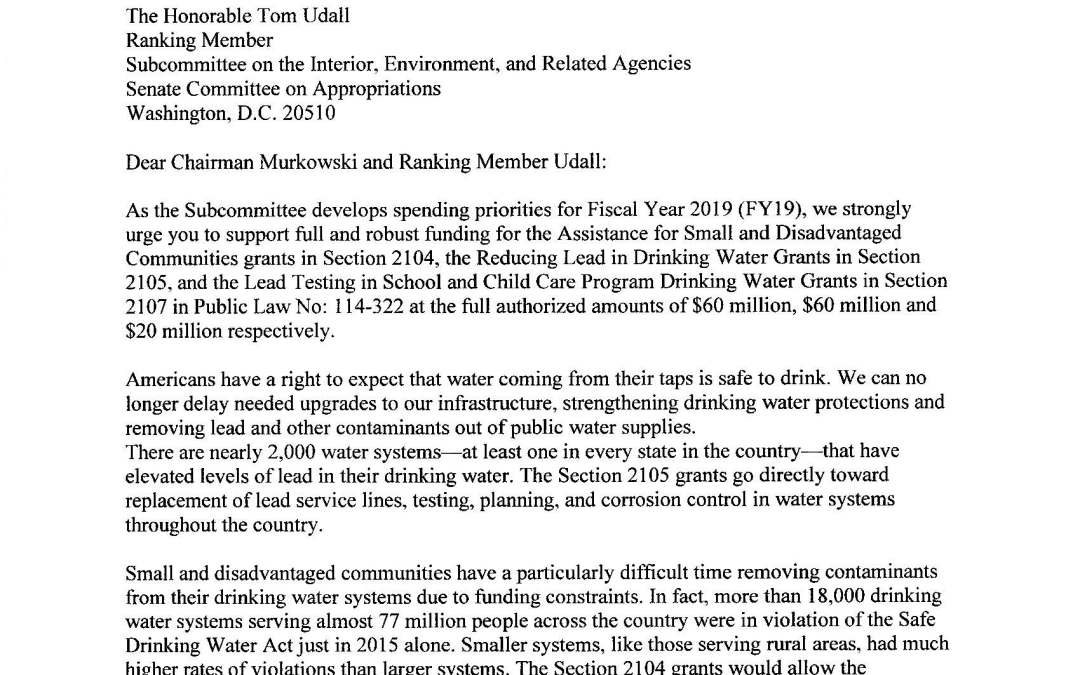 Senators to Subcommittee on the Interior, Environment, and Related Agencies Regarding Drinking Water Priorities