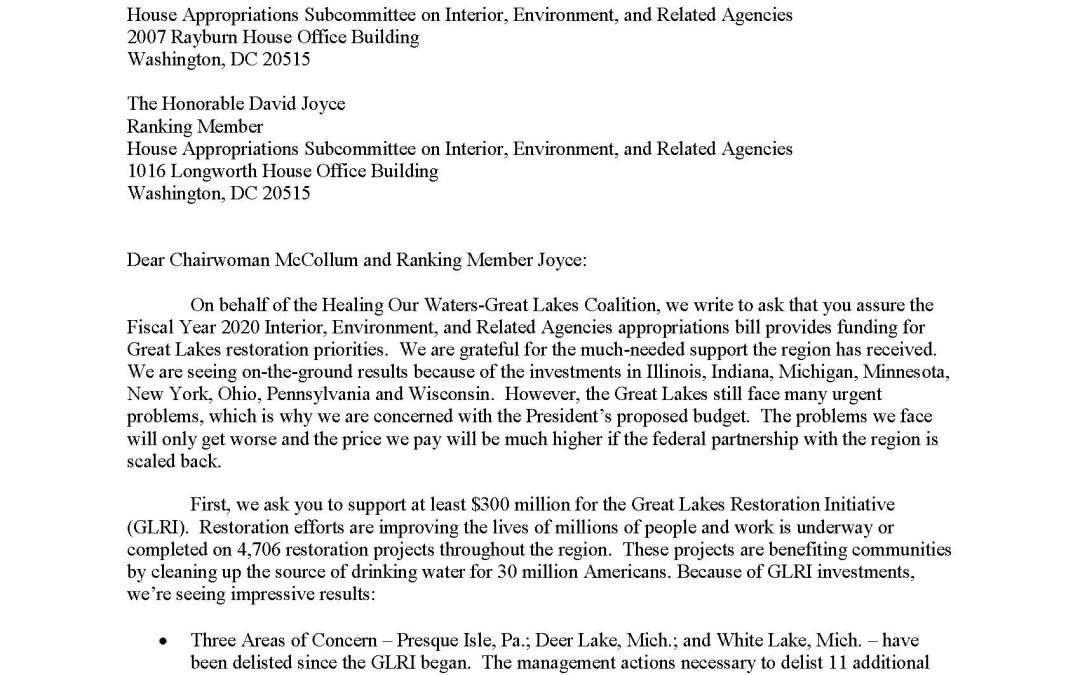 Coalition to House Appropriators Regarding Interior, Environment, Related Agencies Budget