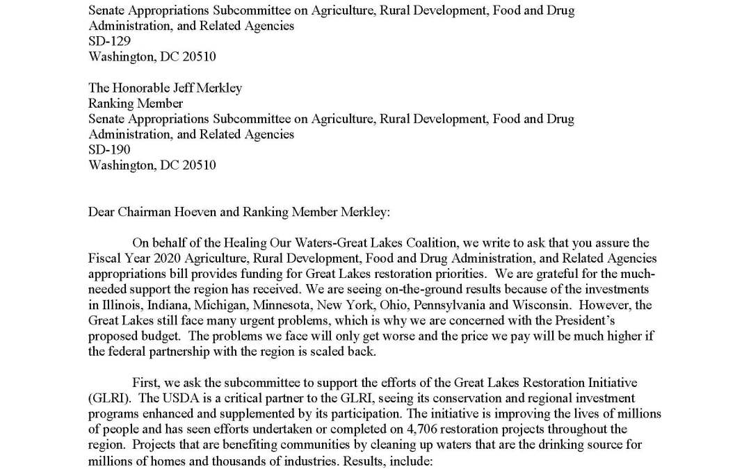 Coalition to Senate Appropriators Regarding Agriculture and Related Agencies Budget