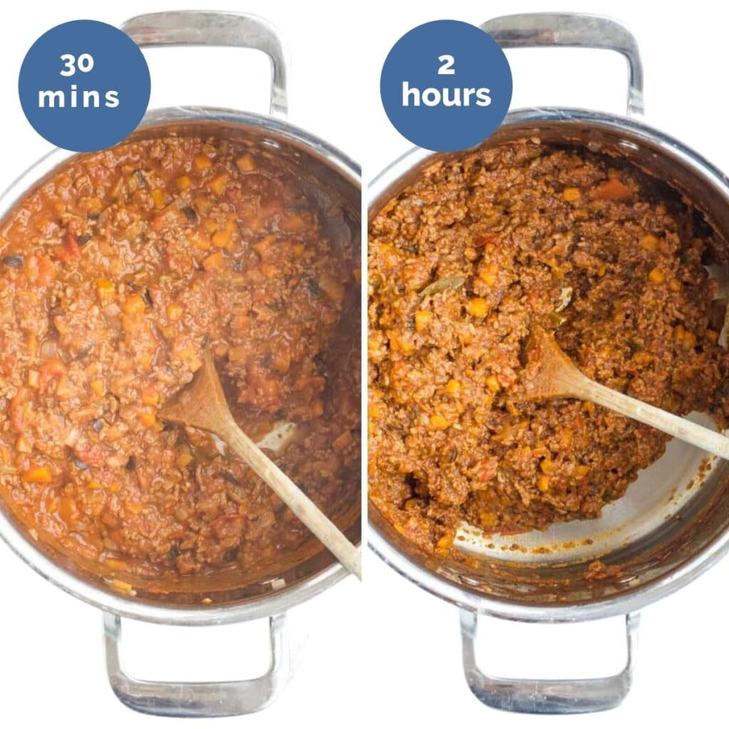 Collage of 2 Images Showing the Bolognese After 30min and 2 Hours