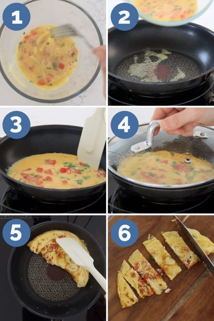 Collage of 6 Images Showing How to Make Omelette Fingers for Babies