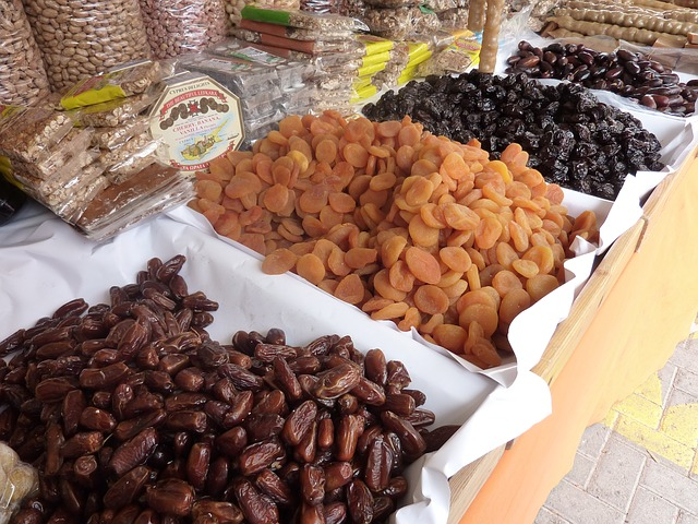 Dried-fruit, especially Dates contain 25μg per 100g