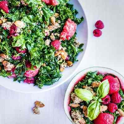Kale watermelon raspberry salad