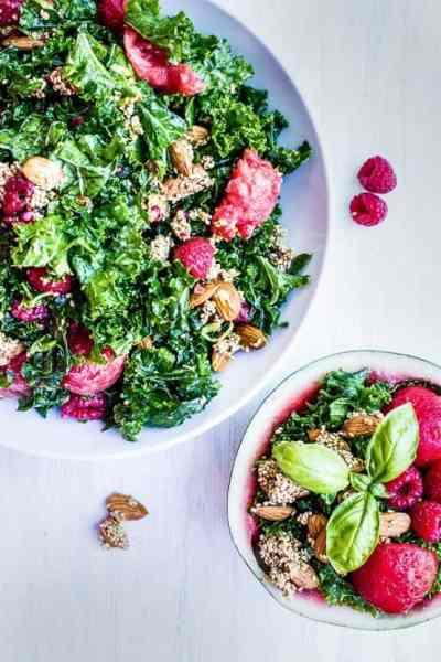 Kale watermelon raspberry salad