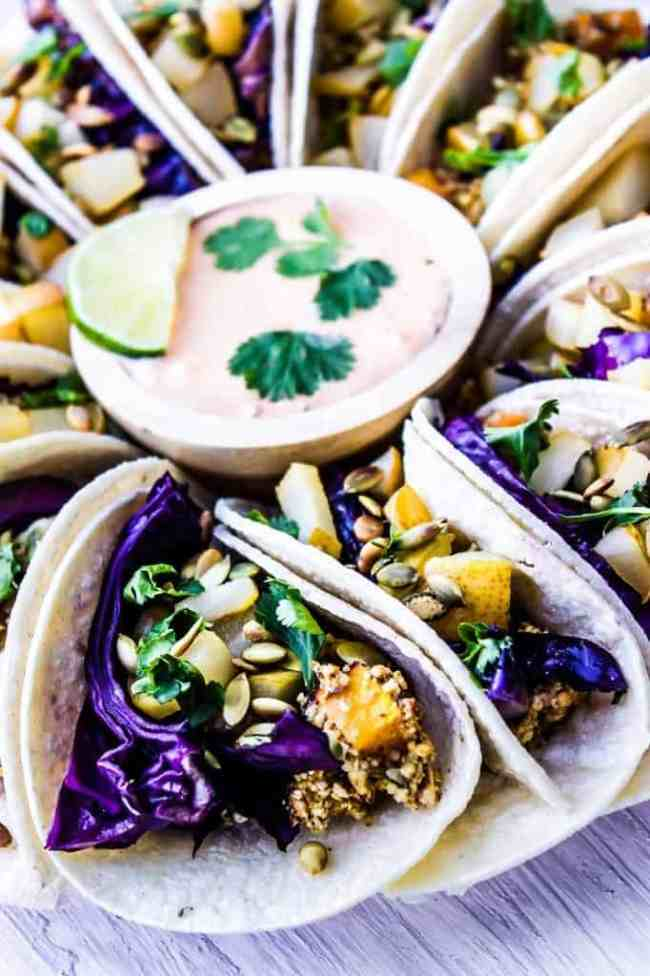 purple cabbage + crispy butternut squash tacos