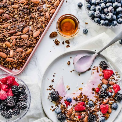 Vegan Berry Yogurt Parfait with Fresh Berries and Gluten Free Homemade Granola