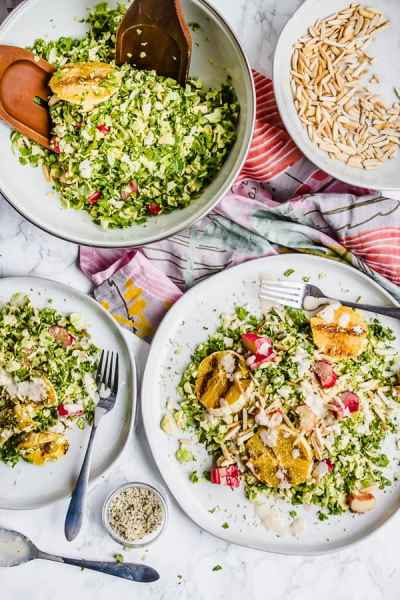 shredded brussels and kale salad