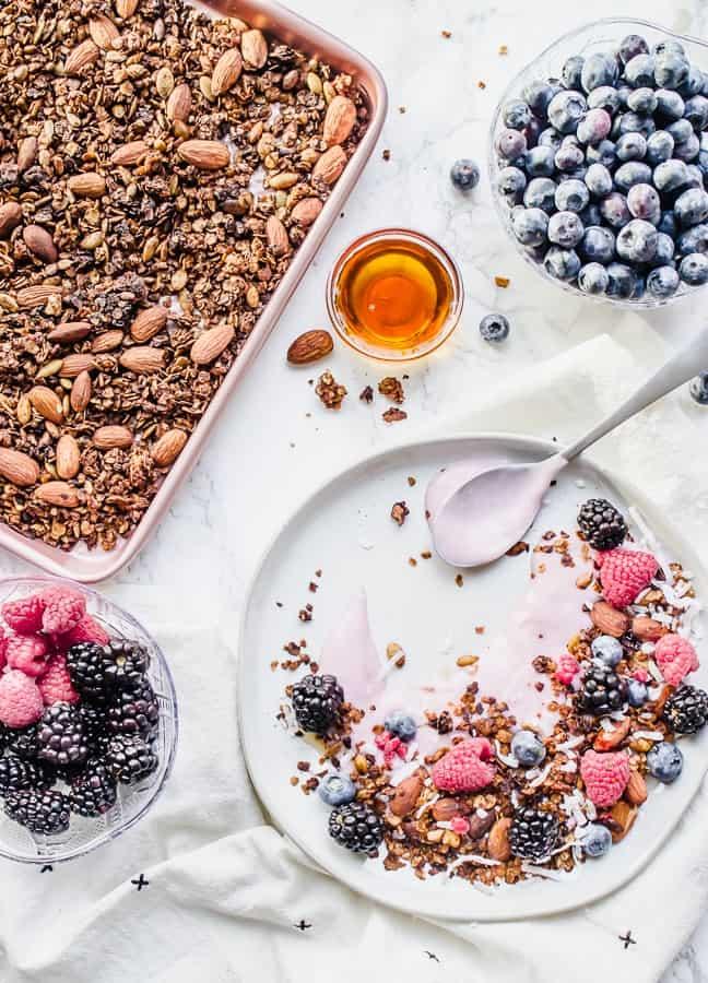 yogurt berry parfait with homemade granola