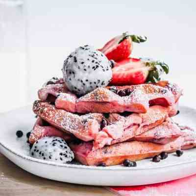 pink dragonfruit chocolate chip waffles