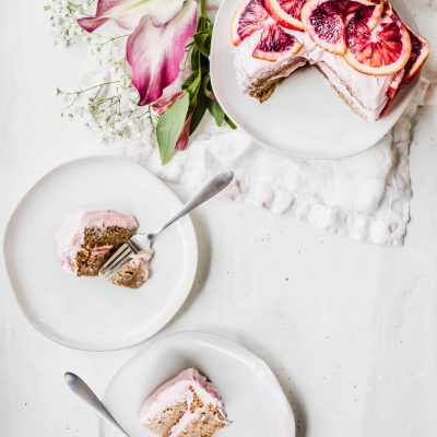 gluten-free, vegan ginger spice cake with blood orange buttercream frosting by healthy little vittles