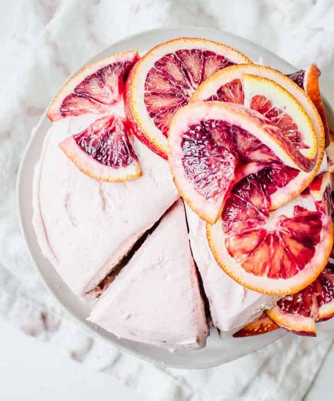 ginger spice cake with blood orange buttercream frosting