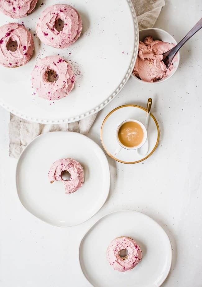 Chocolate Coffee Doughnuts with Cinnamon Buttercream Icing
