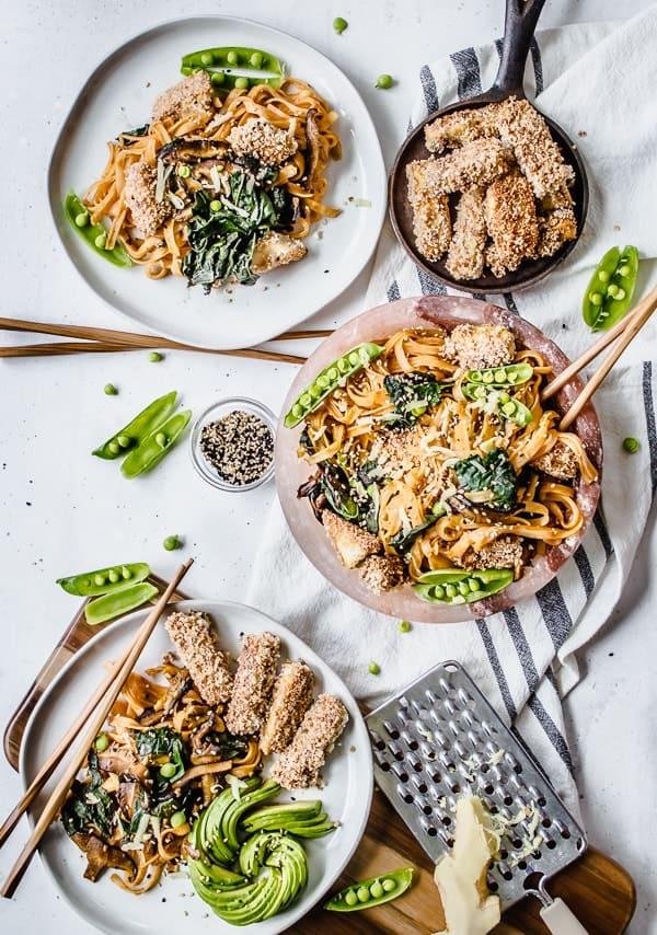 Curried Shiitake + Kale Noodle Bowls with Panko Crusted Tofu