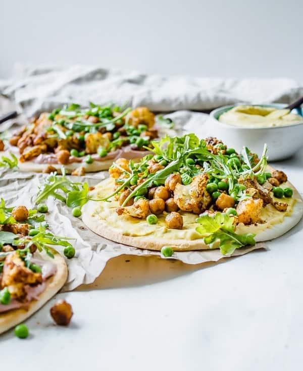 """Tandoori Cauliflower Pita Flatbreads with Tahini Cumin """"Yogurt"""""""