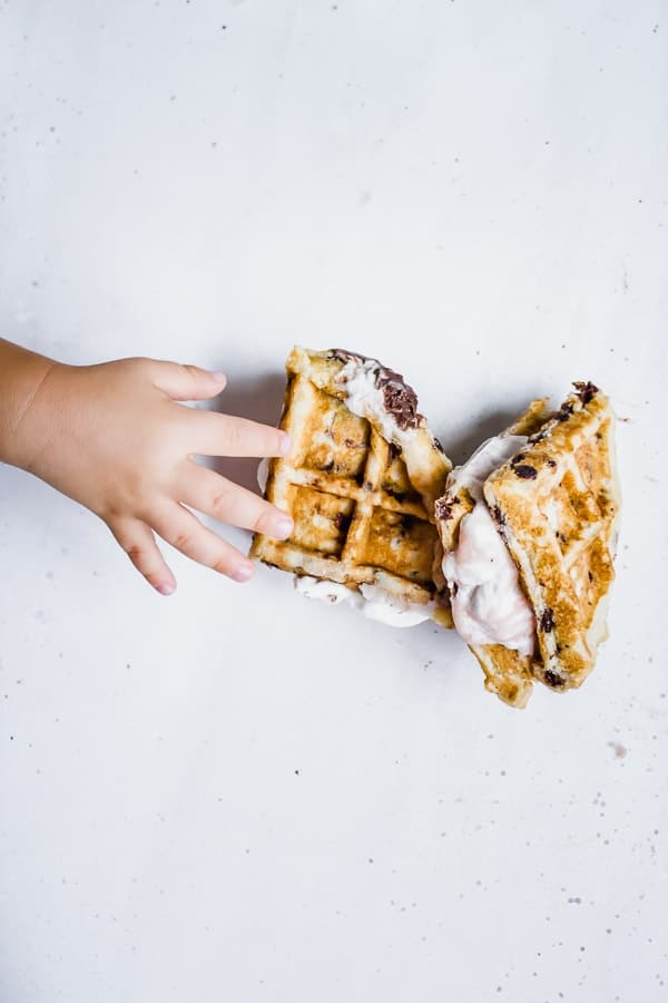 Chocolate Chip Waffle Ice Cream Sandwiches