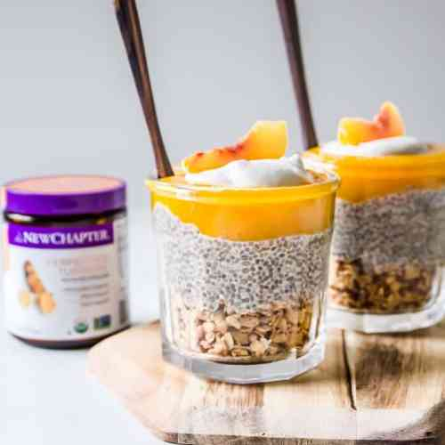 Peach Cobbler Chia Pudding