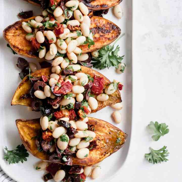 Mediterranean White Bean Stuffed Sweet Potatoes