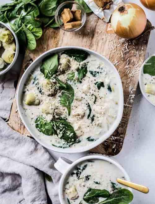 Spinach Artichoke Gnocchi Soup