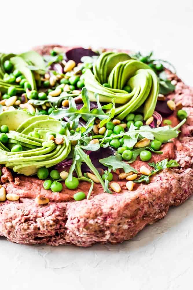 Beet Hummus Pizza