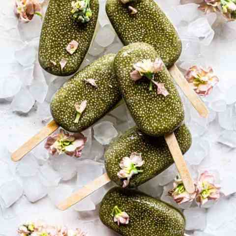 Matcha Manuka Chia Popsicles