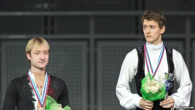 Evgeni Plushenko and Maxim Kovtun Medal ceremony on Russian Nationals December 2013