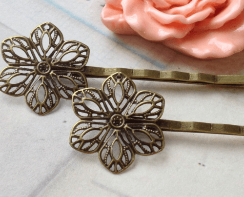 hair accessory Handmade Antiqued Bronze Setting Bobby Pins