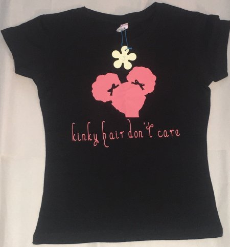 christmas gifts for natural kids, Kinky Hair Don't Care Girls Tshirt