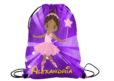 christmas gifts for natural kids, Personalized Ballerina Drawstring Backpack