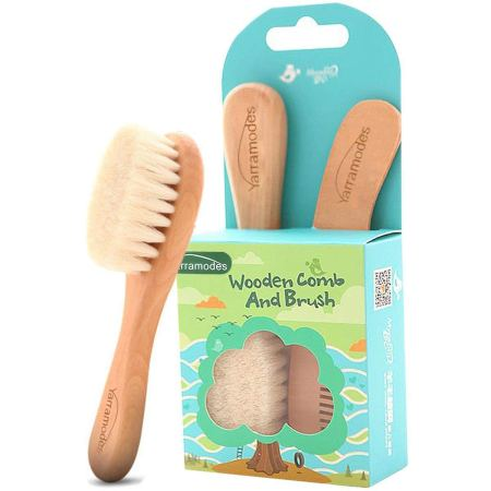 natural hair gifts for christmas, Baby Goat Hair Brush and Comb Set