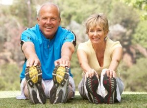 Smiling Couple Exercising