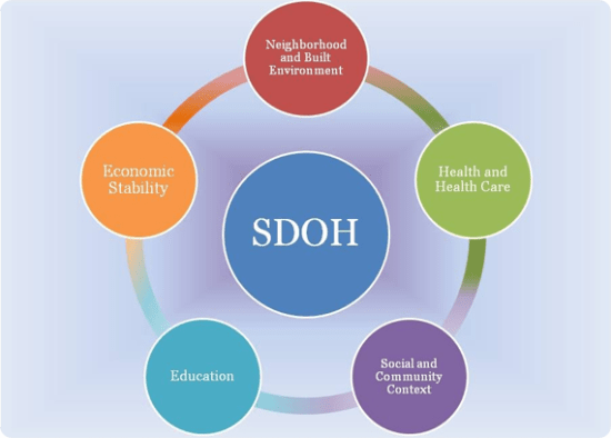 a diagram of the five social determinants of health