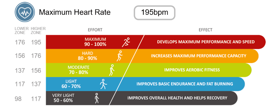 maximum heart rate training zone example