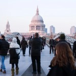 People walking on Millennium bridge