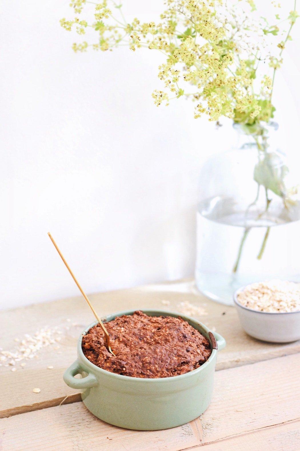 Havermout taartje met chocolade | Ontbijt recept | Healthy Wanderlust