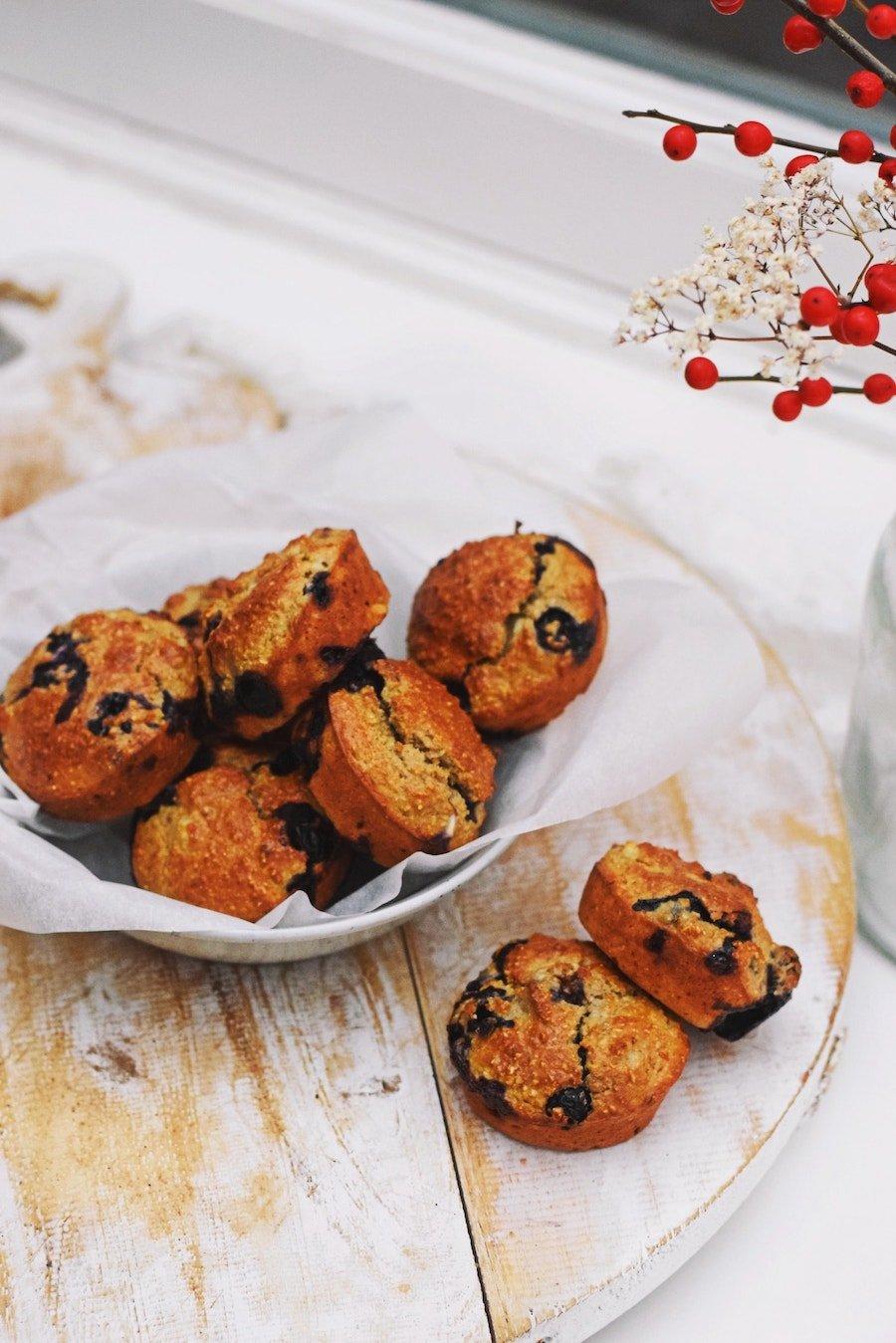 Zoete bosbessen muffins | Gezonde muffins recept
