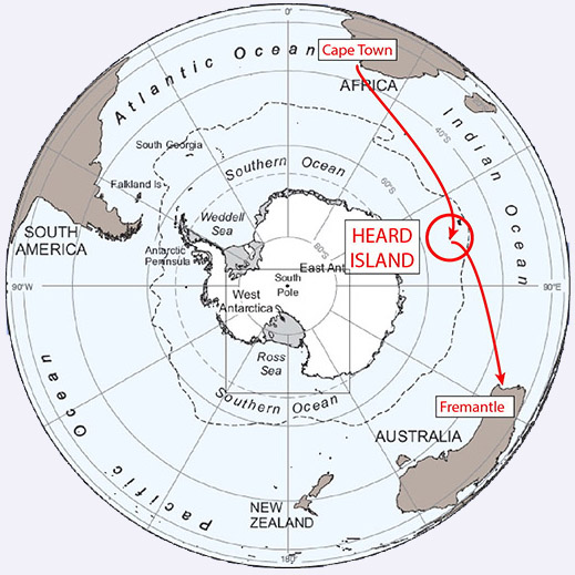 Route to Heard Island for the expedition.  Image credit: Bob Schmeider/Cordell Expeditions.