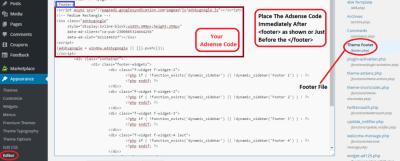 how to add adsense in wordpress website footer