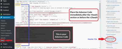 how to add adsense to wordpress website header