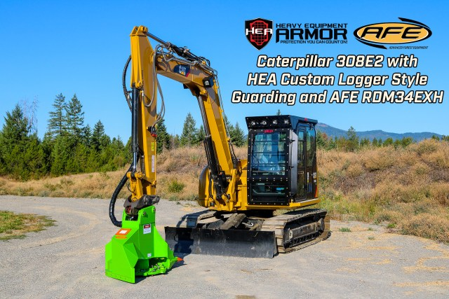 Caterpillar 308E2 Excavator equipped with HEA Custom Logger Style Guarding, and AFE RDM34EXH Mulcher