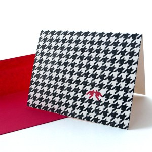 Houndstooth Letterpress Card - I love you.