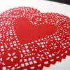 Lace Heart Letterpress Print Red