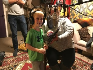 Treyden and his mom in the studio