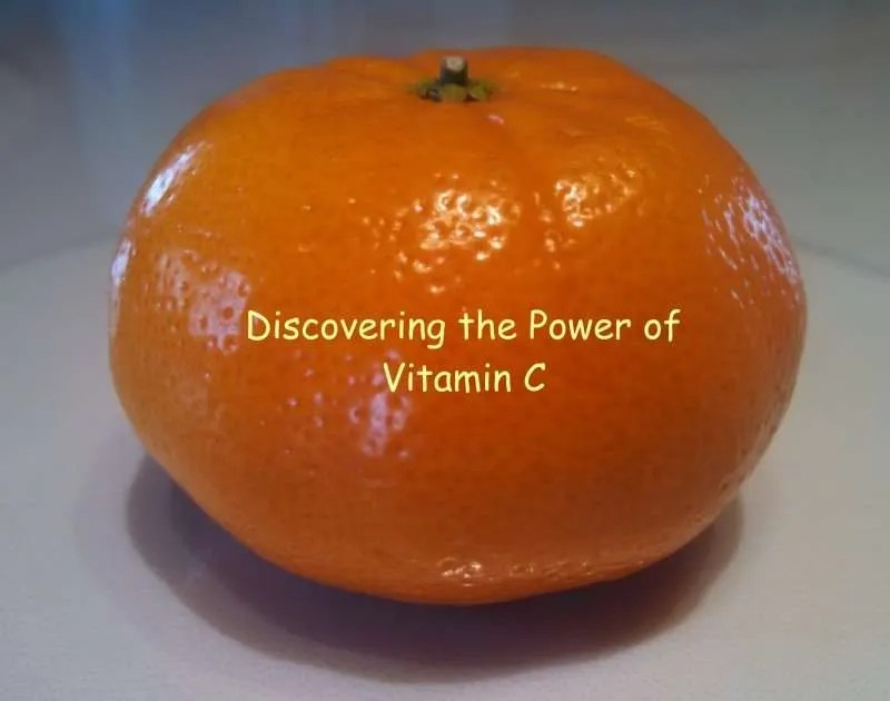 An orange with the words discover the power of Vitamin C.