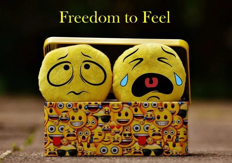 Two yellow faces depicting the emotions fear and sadness peeking out of a smiley face box with the title Freedom to Feel.