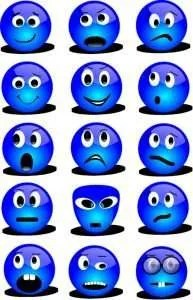 Chart of blue emoticons depicting various emotions.