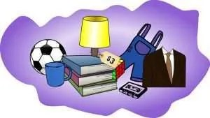 Graphic of items in a rummage sale.