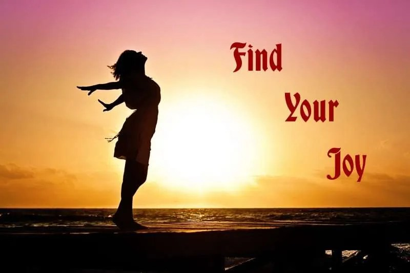 Woman with arms flung out in joy silhouetted by a sunrise with the title Find Your Joy.