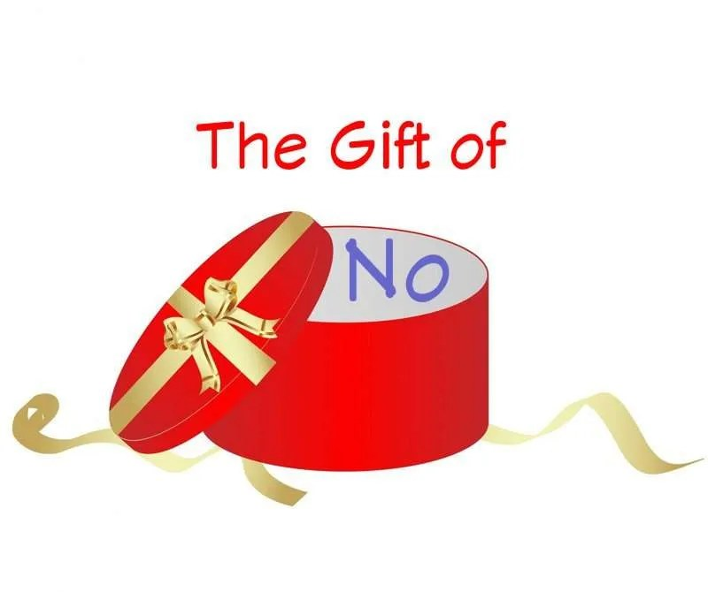 Round, red gift box with lid removed with the title The Gift of No.