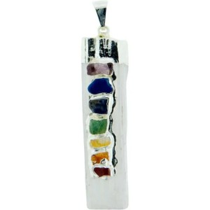 Rough selenite pendant with small crystals corresponding to the main chakra colors.