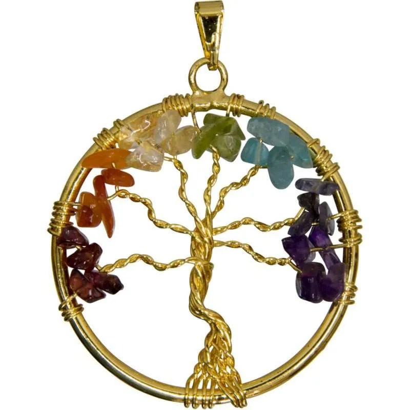 Gold wire tree of life pendant with chakra colored gemstone chip leaves.